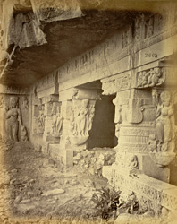 View from the right of the entrance to the Ramesvara rock-cut temple, Ellora
